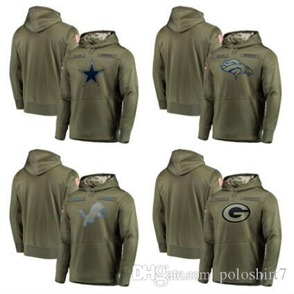 wholesale dealer 970f8 937f7 2018 Men s Denver Dallas Cowboys Sweatshirt Broncos Salute to Service  Detroit Lions Olive Green Bay Packers Sideline Pullover Hoodies