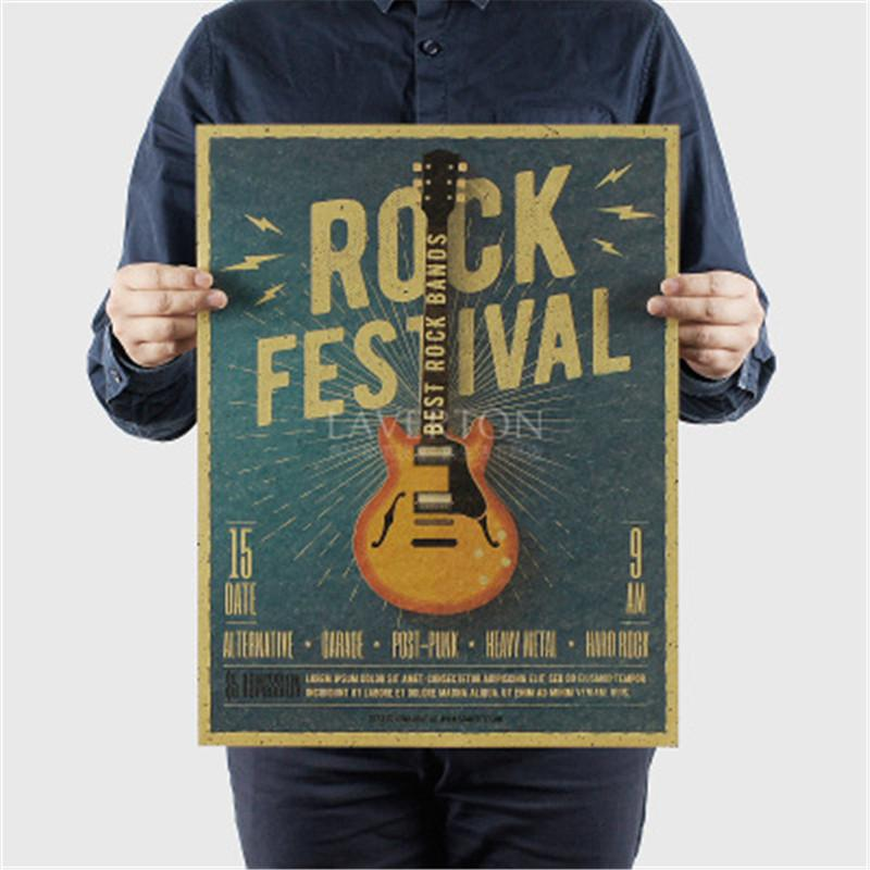 Music Guitar C Style Poster Bedroom Wall Poster Home Decor Modern Rock Wall Sticker for Decor 47X36cm