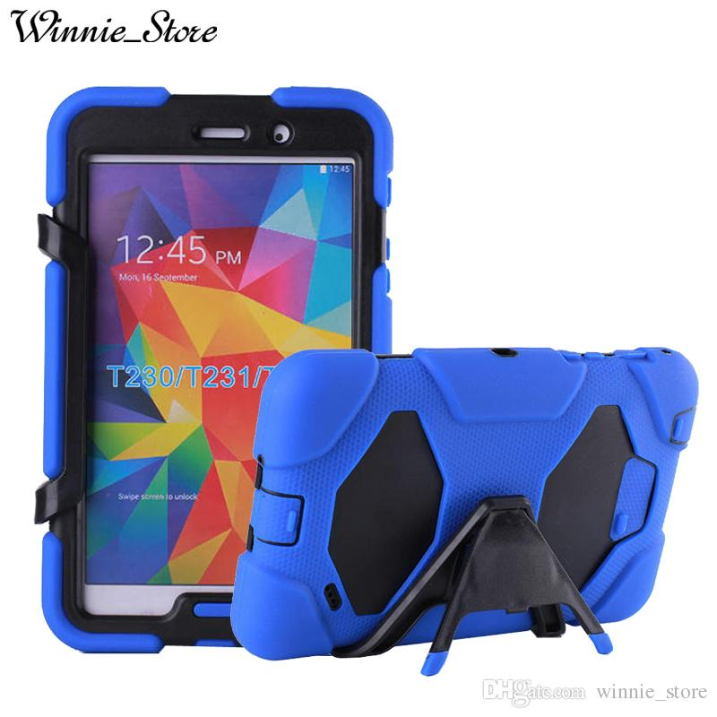 promo code 714ea 0d4ed DHL free For Samsung Galaxy Tab 4 7.0 T230/T231/235 3 Layers Silicone PC  Hybrid Rugged Stand Shockproof Water Repellent Case Cover