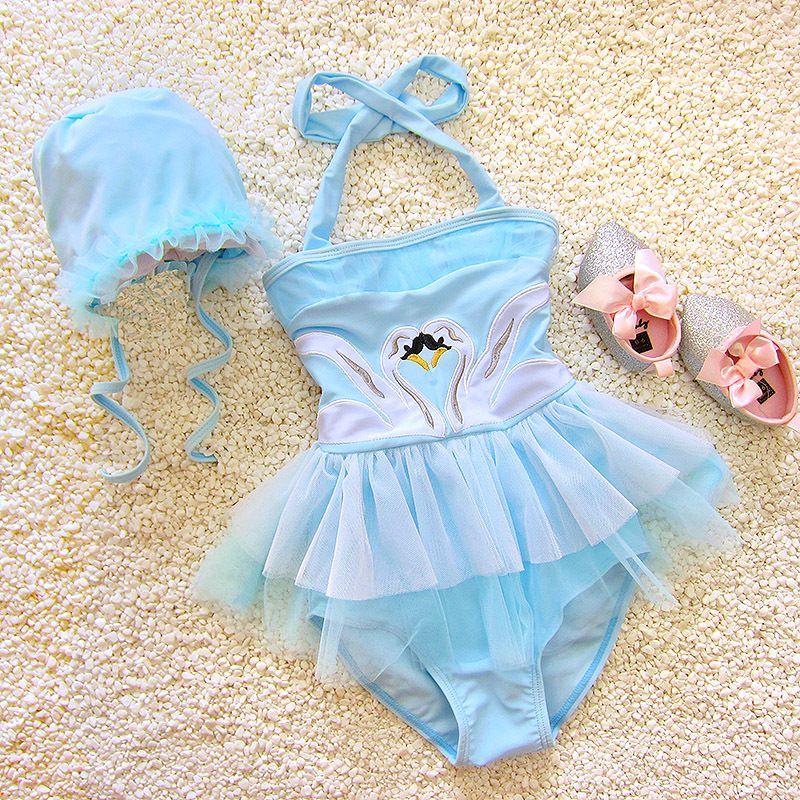 dea81de38e2bf 2019 Girls Swimwear Cute Kids Swimsuit Swimming Swan Flamingo 2019 Baby Girl  Bathing Suit One Pieces Swim Wear For Children With Cap From Sinhsportmall,  ...