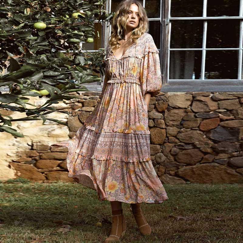 619f596eb6 Frill long sleeve women long dress floral print V-neck spring summer  Bohemian beach seaside dresses gypsy chic women holiday maxi dress