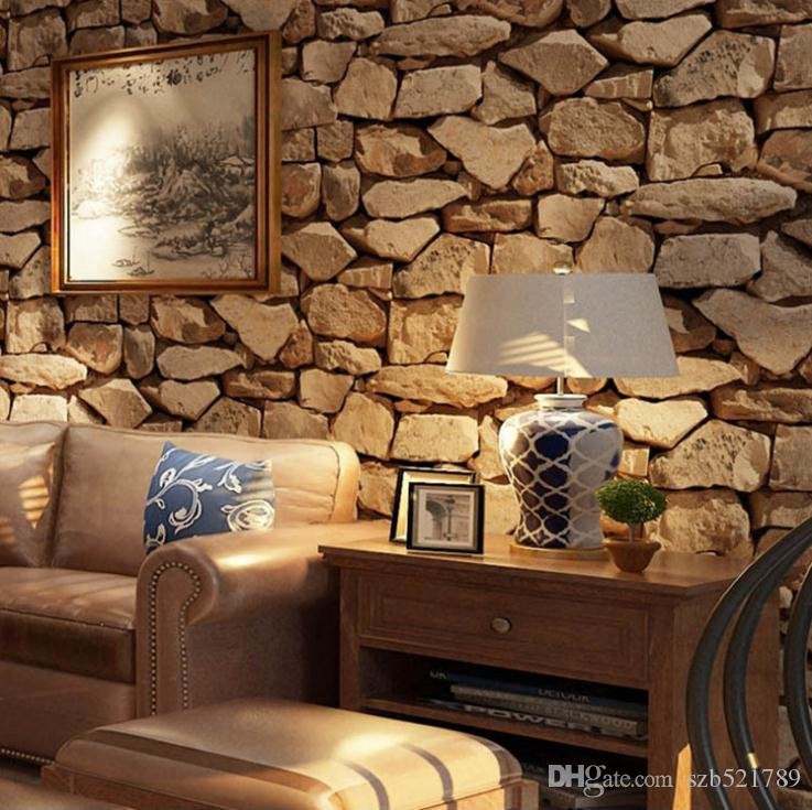 Vintage 3D Stereo Stone Wallpaper Simulation Stone Block Coffee Shop Bar Restaurant Clothing Store PVC Wallpaper