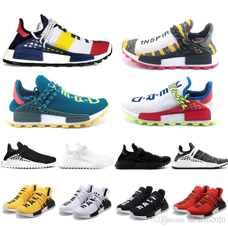 buy popular 70631 444bc 2019 Cheap NMD Human Race Running Shoes Men Women Pharrell Williams HU  Runner Yellow Black White Red Green Grey Blue Sport Sneaker Size 36 47 From  ...