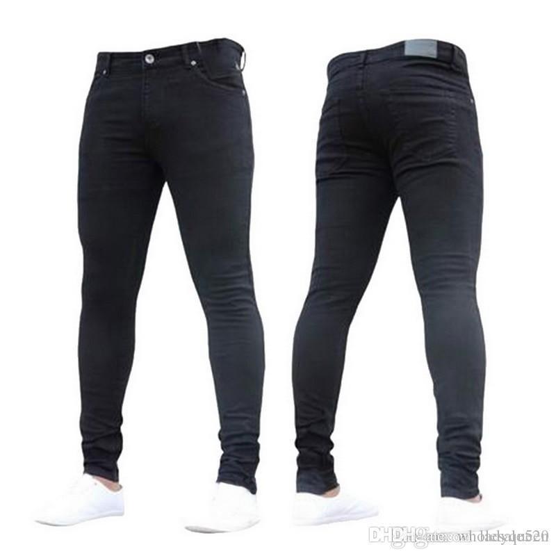 5b028cb664 Compre NIBESSER Para Hombre Marca Skinny Jeans Pantalón Pantalones 2018 Denim  Jeans Negros Homme Lápiz Elástico Pantalones Tallas Grandes Streetwear 3XL  A ...