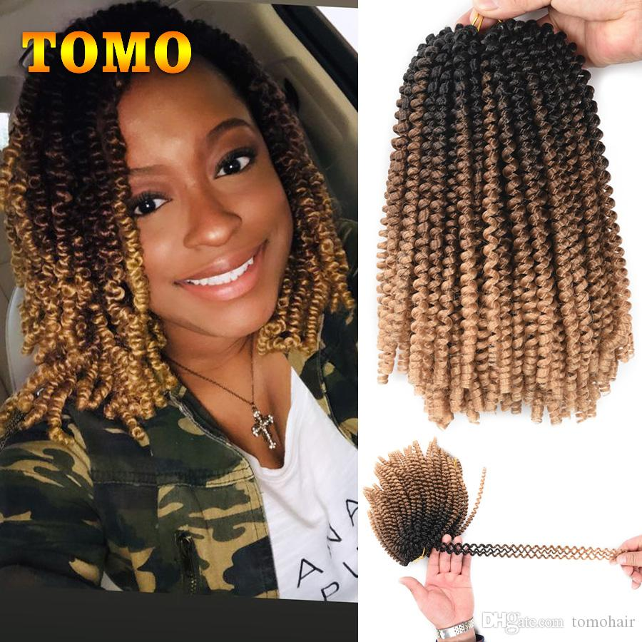 TOMO Short Curly Braids Schwarz Braun Blond Ombre Spring Twist Kanekalon Synthetic Crochet Braiding Haarverlängerungen kinky Curly Hair 110g / pc