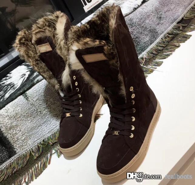 2018 marcas de lujo botas de nieve peludas de piel de gamuza botas de nieve para jóvenes Cálido antideslizante Esquí de invierno Corte alto por debajo