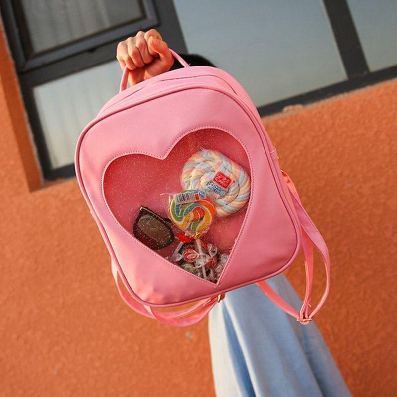 13dcddc30 Compre Nuevo Color Caramelo Transparente Amor Forma De Corazón Mochilas  Harajuku Bolsas De Hombro Para Niñas Adolescentes Bolsa De Libros A $29.75  Del ...
