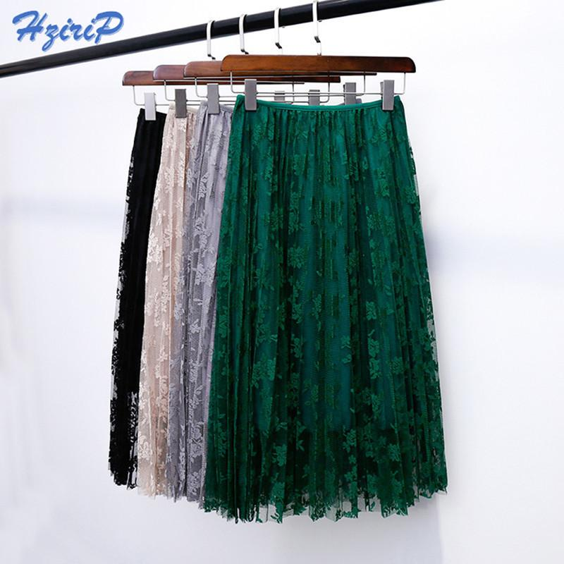 New Summer Skirts Elegant Lace Pleated Skirt Solid 4 Colors Women High Waist Skirt Sexy All-match Spring Skirts Saia Longa Q190517