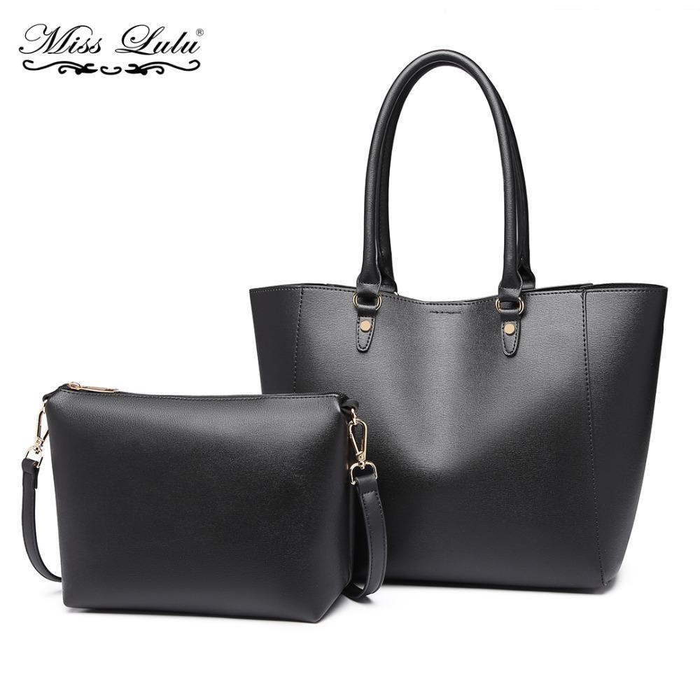60c18c47343 Miss Lulu Women PU Leather Shoulder Bags Handbags Totes Ladies Fashion Top  Handle Bag Large Shopper Set Black Two In One YD6895 Totes Bags Leather  Totes ...