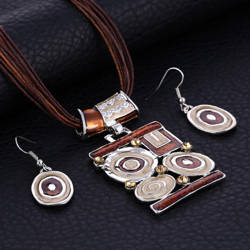 Silver Pendant Jewelry Sets Vintage Colorful Multi Layers Leather Rope Chain Necklace Earrings Sets For Women Jewelry