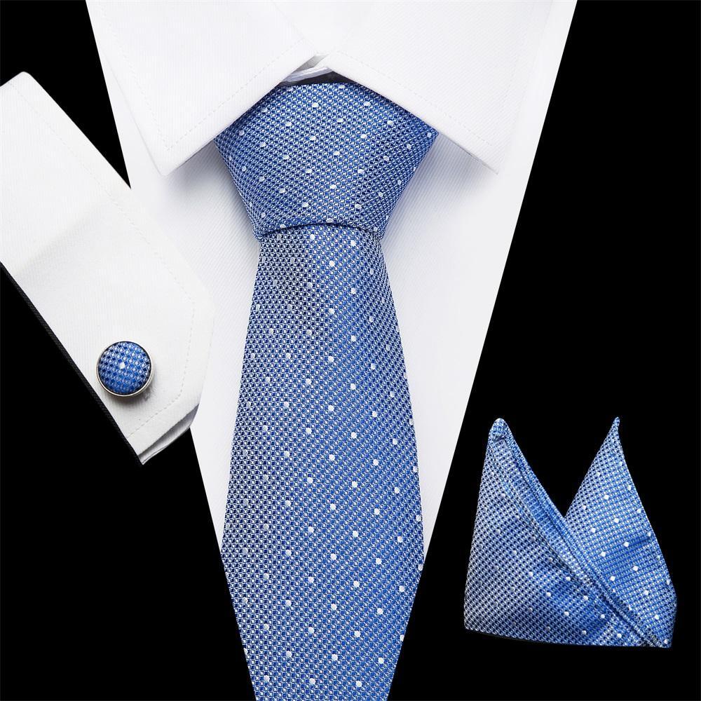 8f7daecb4389 Vangise Tie Sets Mens Slim Tie Dot Floral Ties Hanky Cufflink 7.5cm Blue  Necktie Pocket Square Ties For Men Wedding Party Boys Bow Ties Gold Tie  From ...