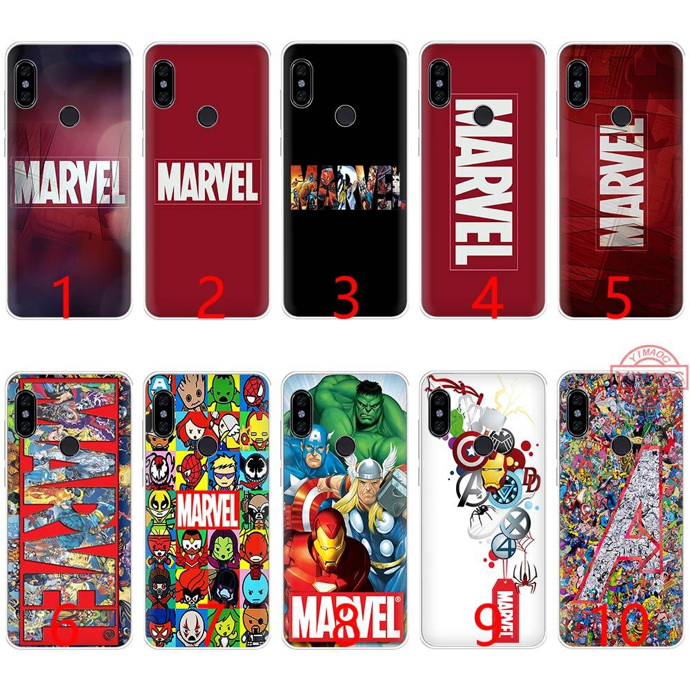outlet store 827ac 73055 Luxury Marvel Comics logo Soft Silicone TPU Phone Case for Redmi Note 4 4X  5 6 Pro 6A S2 Cover