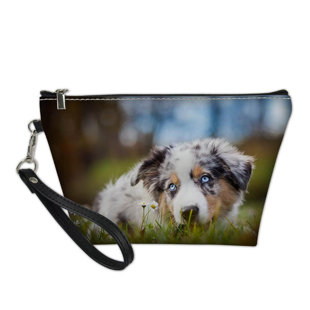 Australian Shepherd Dog Lover School Office Pencil Case Makeup Bag for Boys Girls Portable Cosmetic Pen Houlder Bag Pouch Box