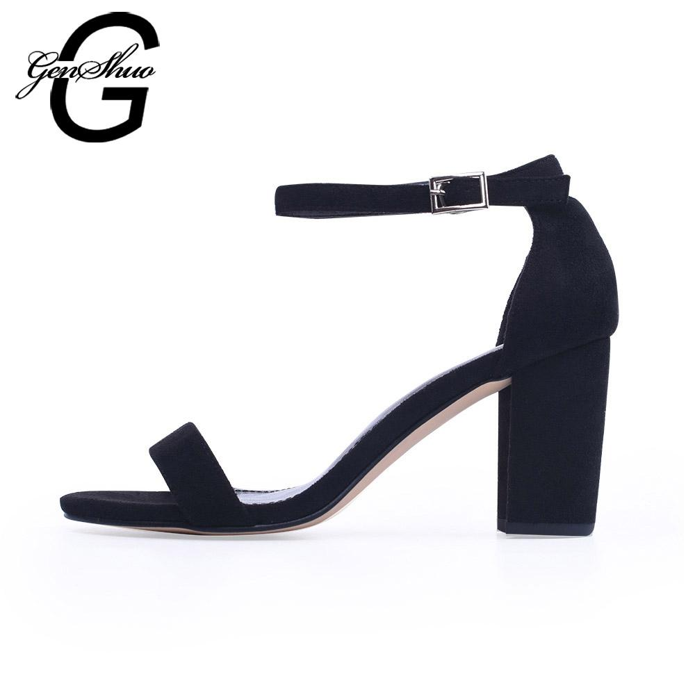 f1a4d1720f3d GENSHUO 2018 Ankle Strap Heels Women Sandals Summer Shoes Women Open Toe  Chunky High Heels Party Dress Sandals Big Size 42 Cheap Shoes For Women  Brown Shoes ...