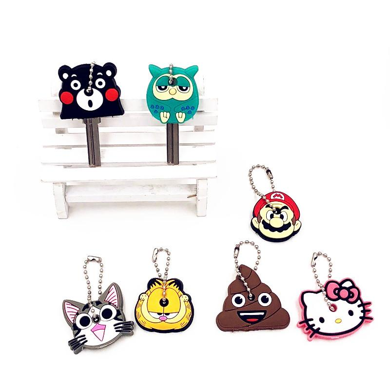 100e27134 1PCS Garfield Owl chi's sweet Cat Silicone key cover Key chain Cartoon hello  kitty japan anime Ring bags chains