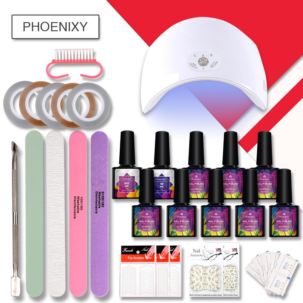 Complete Gel Nail Kit With 36w LED Lamp Art Decoration Multi-colors 8ml Nail Polish Set All For Manicure Art Accessories