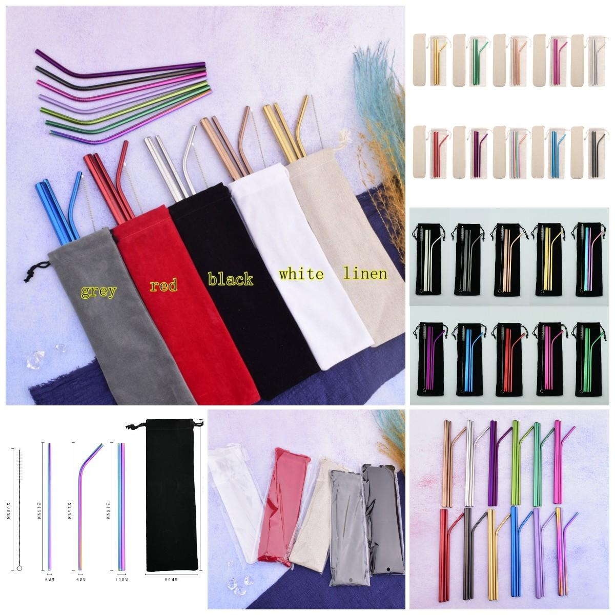 Stainless Steel Straw Set With Cleaner Brush Cloth Bag Reusable Drinking Straws Smoothies Straw Party Bar Drinking Tool MMA3025