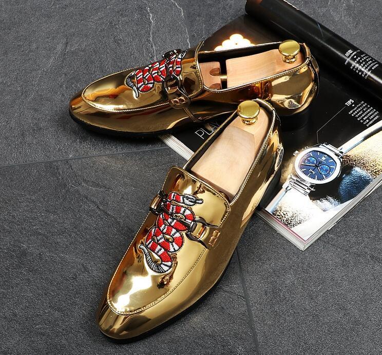 7b1351e8e7cceb New Fashion Men Luxury Designer Embroidery Snake Casual Shoes ...