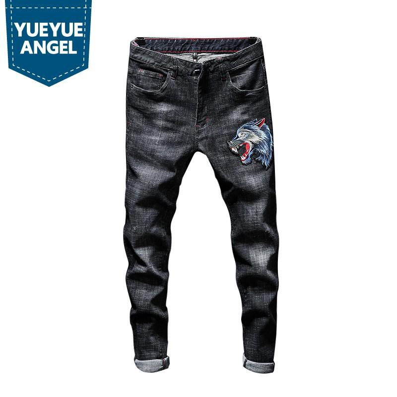 2019 New Mens Straight Strechy Long Jeans Wolf Head Embroidery Denim Motorcycle Biker Pants Plus Size Streetwear Trousers Male