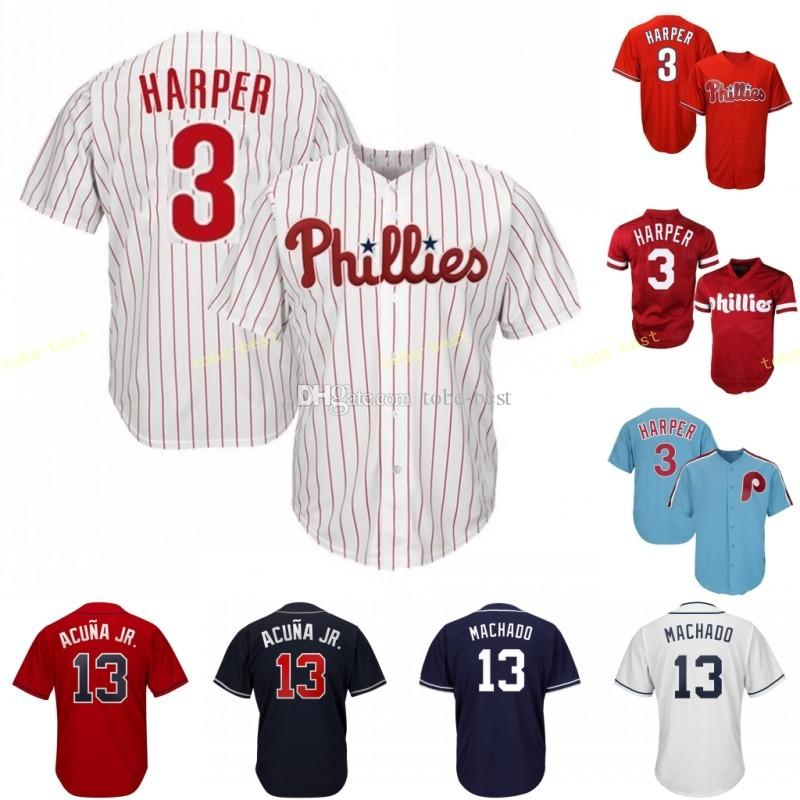 reputable site 150ba b9de5 Philadelphia Jersey 3 Bryce Harper Phillies Stitched Men's Majestic  Alternate Red Blue White Official Cool Base Player Baseball Jerseys