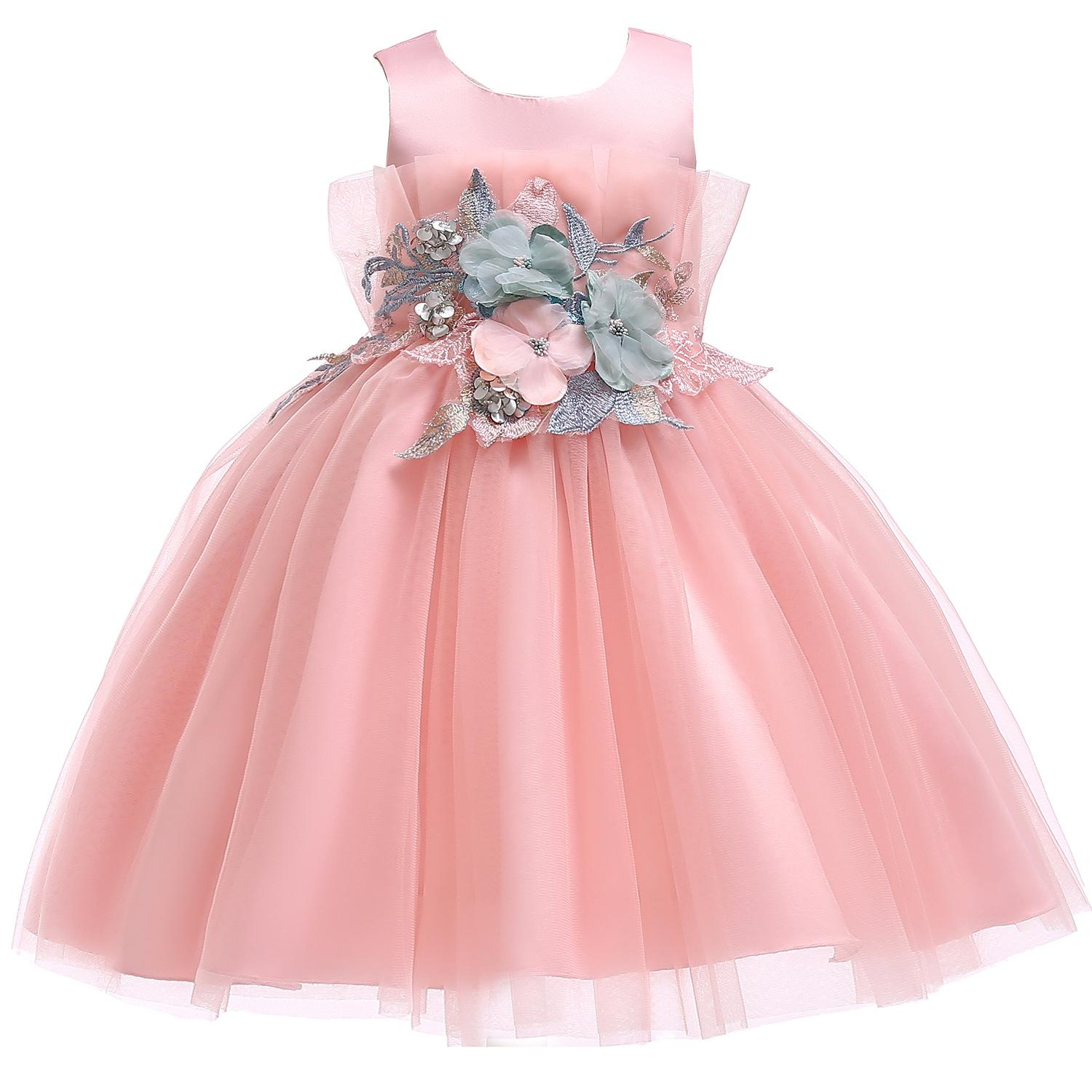 954e0011bc8e3 Junior Flower Dress For Party Girl Children School Birthday Clothing Tutu  Applique Kids Summer 2019 Clothes Infant Vestidos Wear