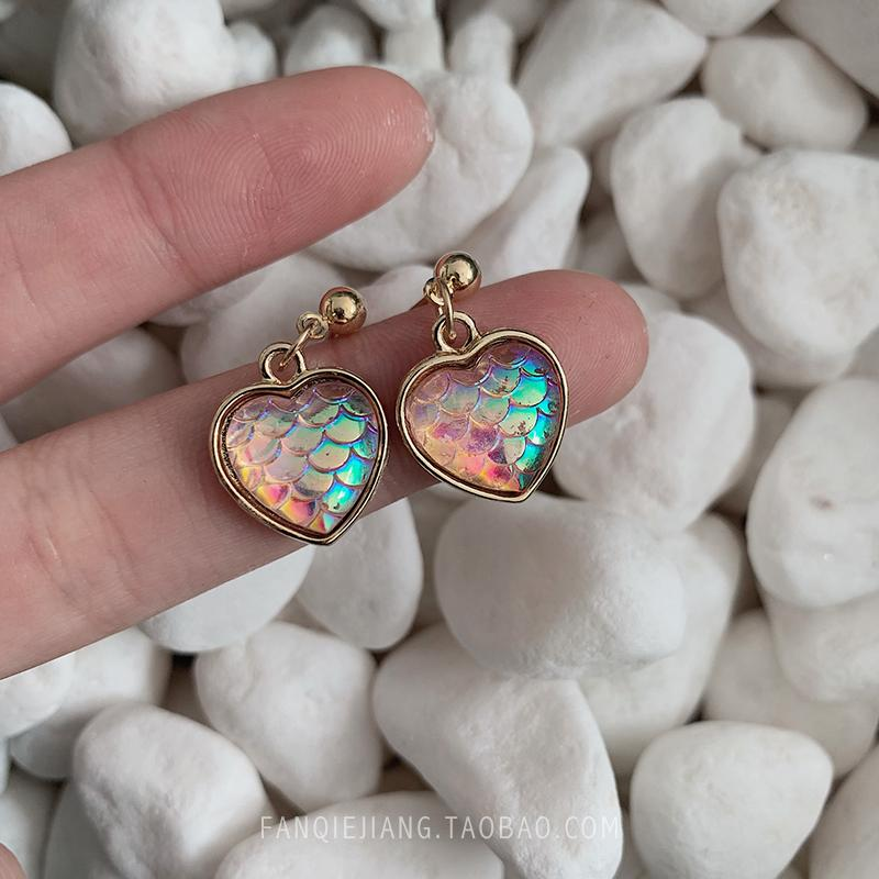 9afa7c746 2019 Little Love Illusion Color Pink Fish Scales Earrings Female Super  Immortal Korean Temperament 2019 New Tidal French Ear From Kourei, $25.13 |  DHgate.