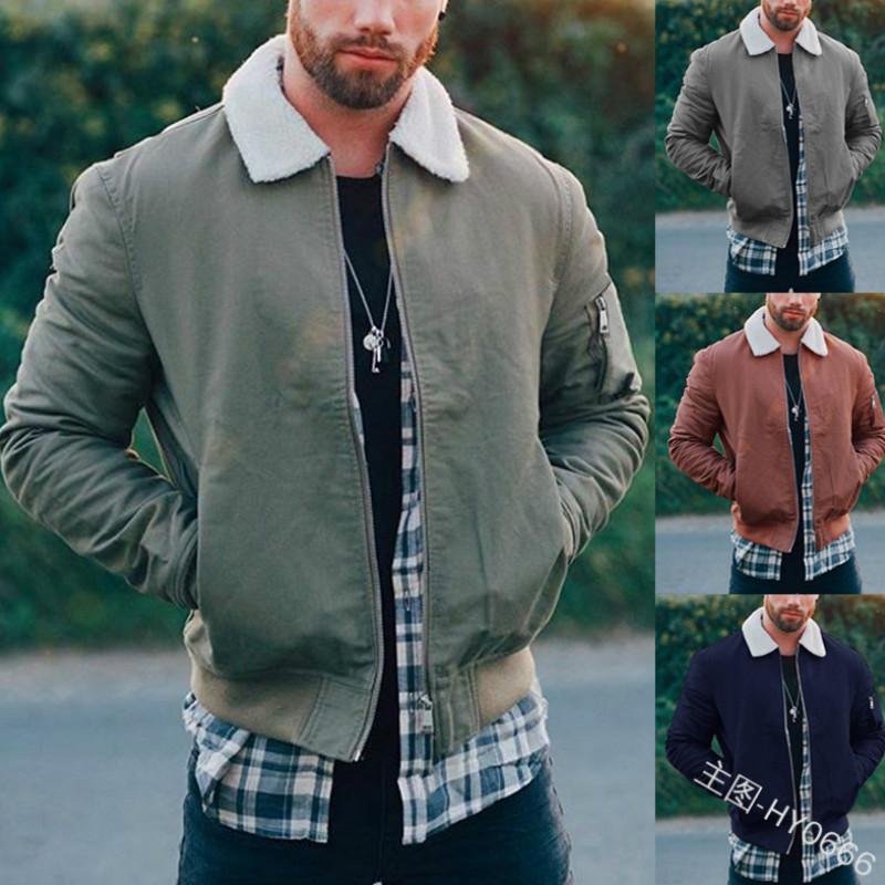 068c554aa60 Men 2018 New Winter Brown Lambs Woolen Faux Fur Jacket Metrosexual Man Warm  Thick European Style Motorcycle Bikers Jacket Coat Coats Man Jeans Jacket  With ...