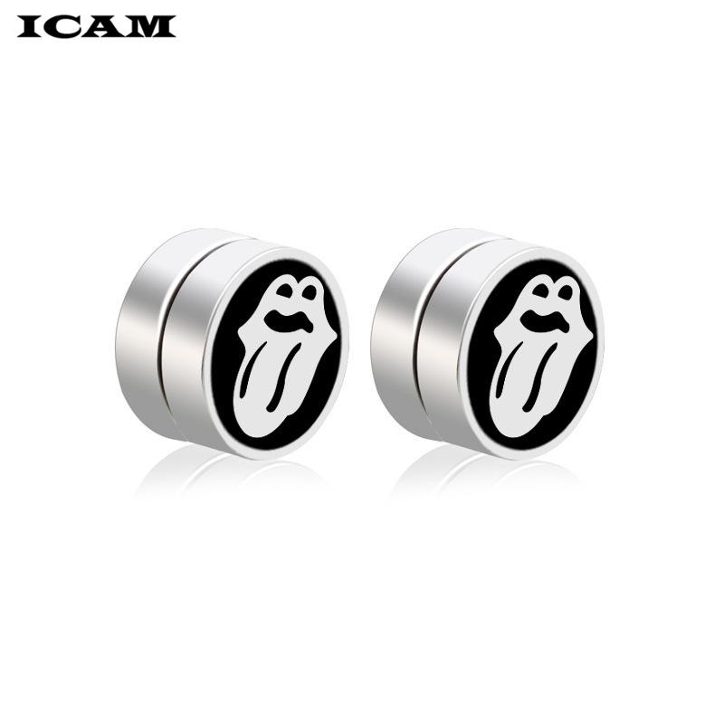 ICAM Punk Strong Magnet Magnetic Health Care Ear Clip Stainless Steel No Piercing Tongue Earrings Men Women Street jewelry