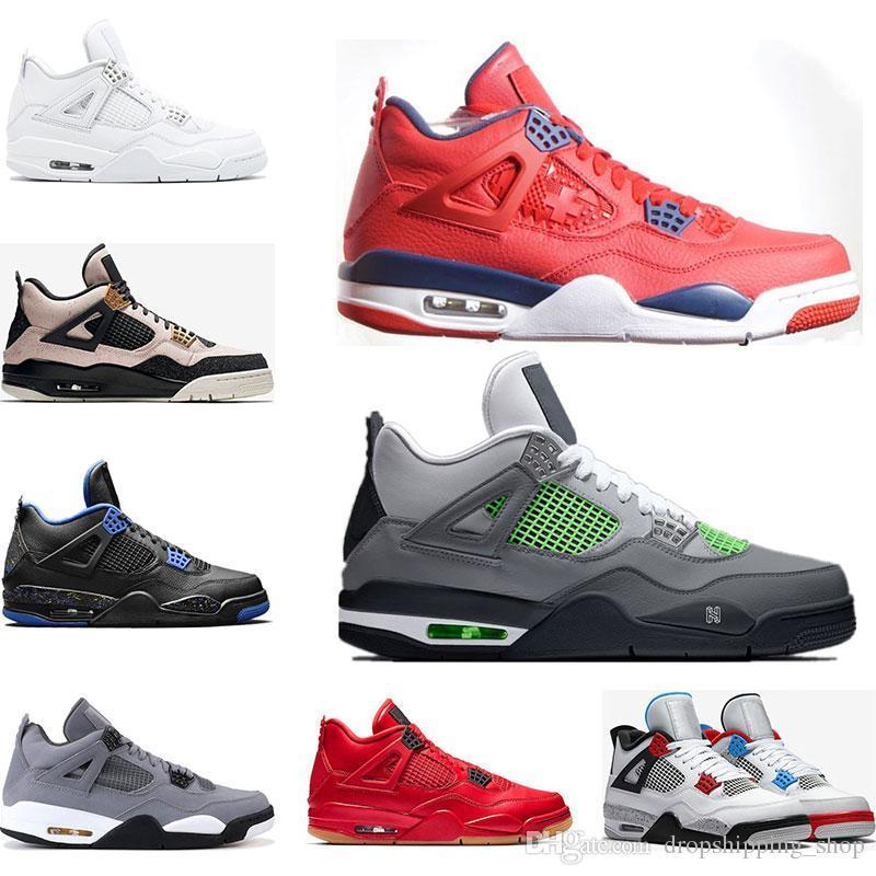 2019 Basketballschuhe 4s Nero FIBA, was die kühle graue SILT RED PURE MONEY WINGS 4 Mens sports Turnschuhe traienrs Größe gezüchtet 7-13