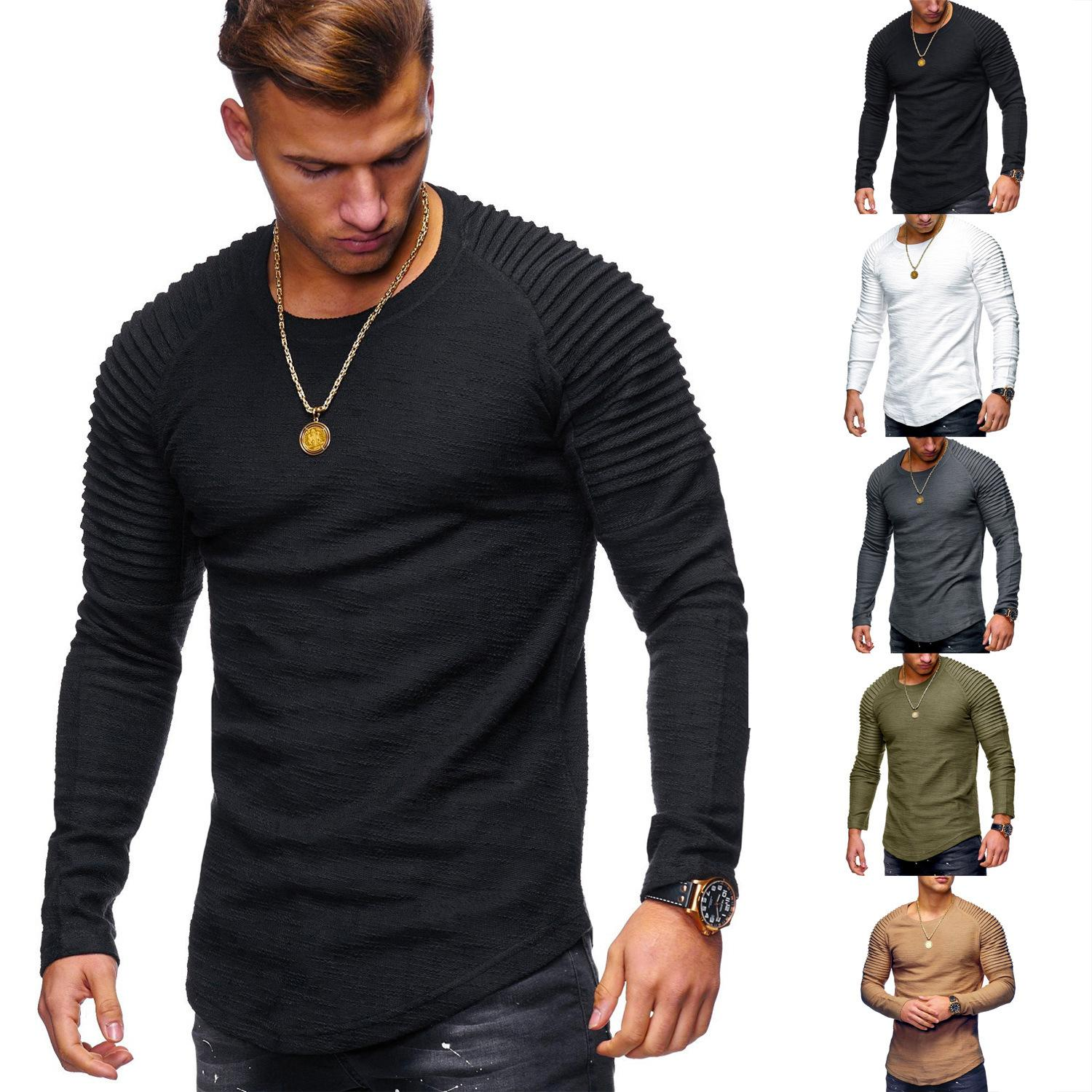 9291760b9297 Men's Tops 2019 New Arrival Fashion T-Shirt Autumn Winter Long Sleeve Casual  Pleated Solid Color Long Sleeve T-Shirts Size S-2XL