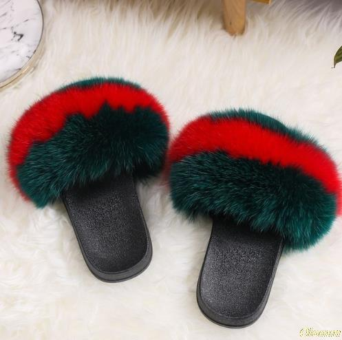 Luxury Women Real Fox Fur Sandals Fox Hair Fur Slides Rubber Flat Non-slip Casual Home Slipper Soft Lady Large Size 45 Shoes