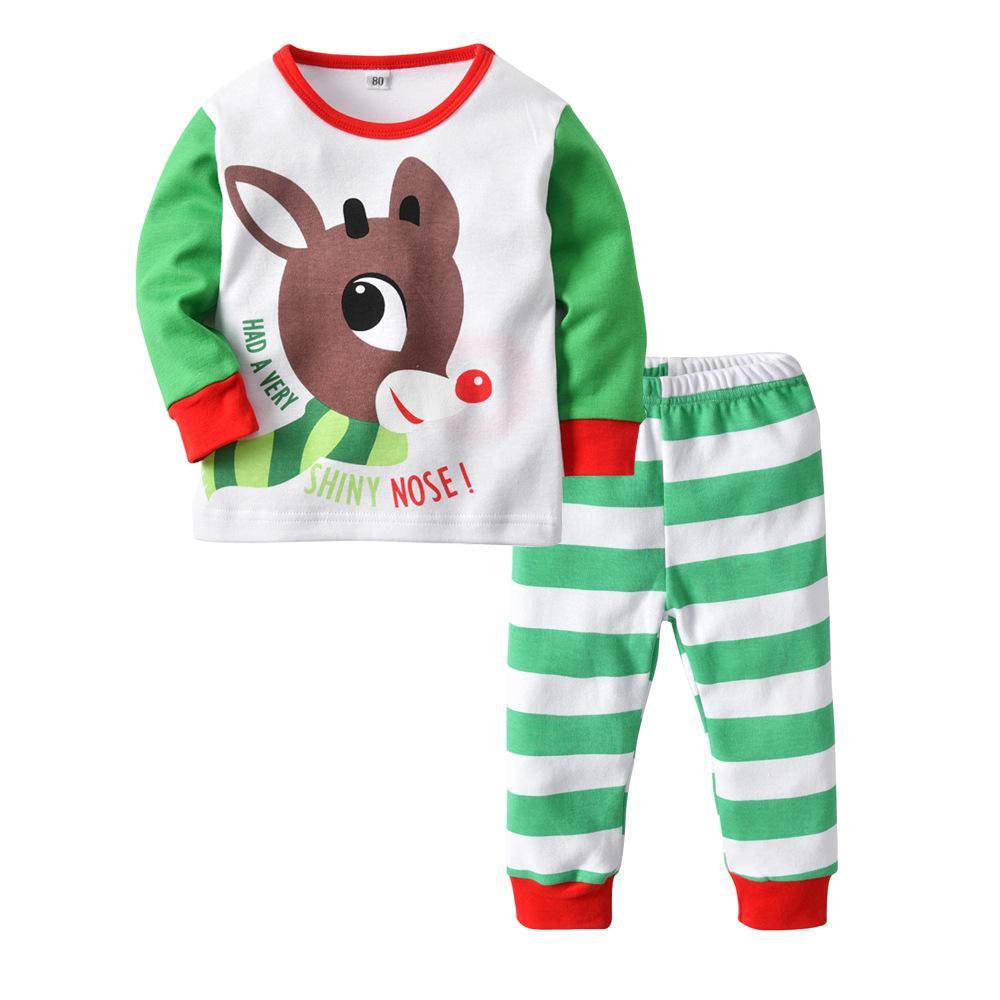 c2c26215fe5f6 Acheter Pyjamas Enfants Ensembles Coton Garçons Vêtements De Nuit Enfant  Pyjama De Noël Costume Fille Joyeux Noël Fauve Stripe Pantalon Twinset De   7.11 Du ...
