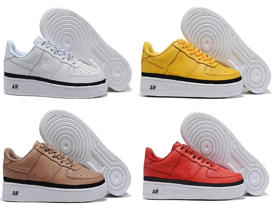 pretty nice e2ab6 33c3c High-quality Fashion Forcing CORK af1 Men Women One 1 Running Shoes high  Low Cut All White Black Brown Color Casual Sneakers eur