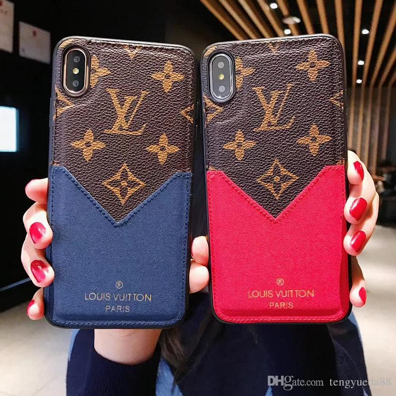sports shoes 4aa86 d343b Top Quality Luxury Designer Phone Case for iphone X XS XR Xs Max 7 7plus 8  8plus Leather TPU Back Cover Card Holder Protective Case