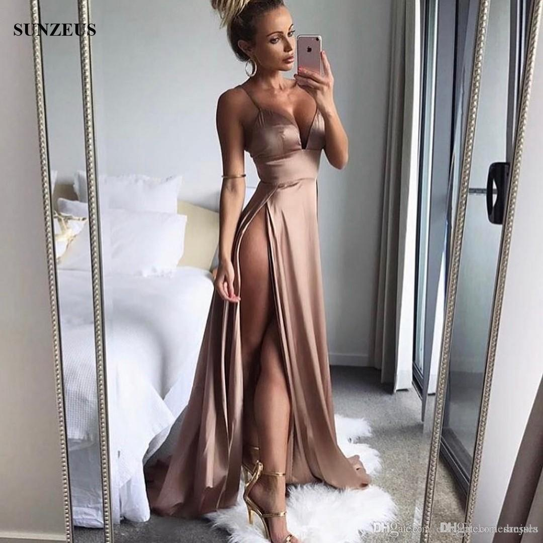 Sexy Two Slits Red Prom Dresses Empire Spaghetti Straps V-neck Party Gowns Cheap Low Back Special Occasion Dress 2019 Summer