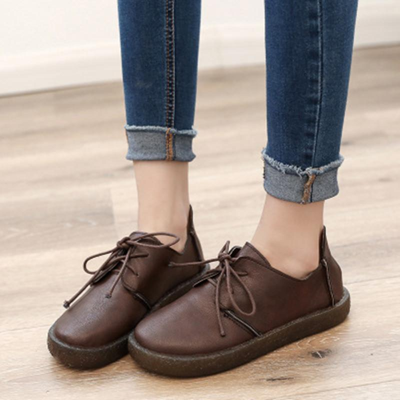 Women Comfortable Leisure Leather Shoes Round Toe Retro Cute Flats ... 8590e30732e