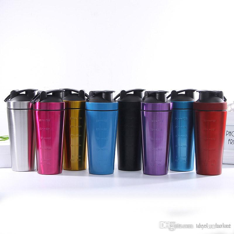 Stainless Steel Protein Shaker Bottle Whey Protein Powder Gym Shake Kettle Milkshake Mixer Sports Water Bottle Eco Friendly Single Layer
