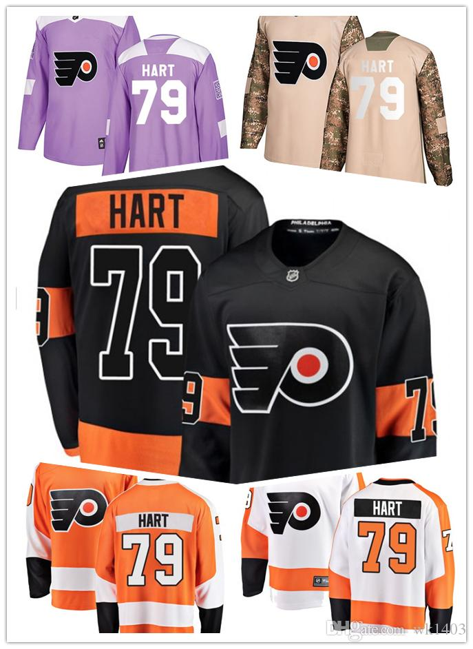 brand new b79d8 8ccb1 Philadelphia Flyers jerseys #79 Carter Hart Jersey ice hockey men women  youth orange white black green camo Stiched Fanatics Jerseys