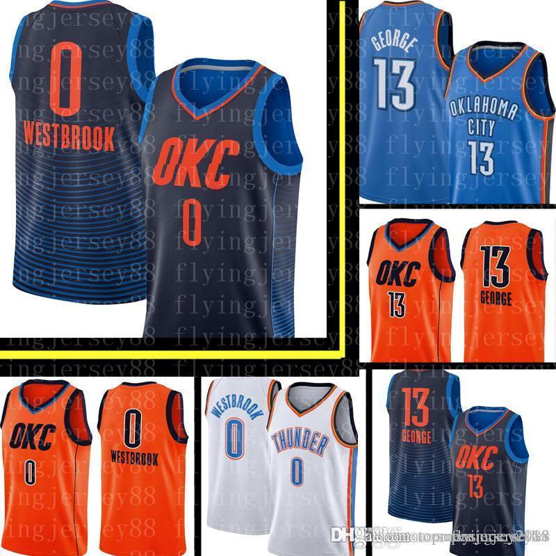 e0092ae8659f 2019 Russell 0 Westbrook Paul 13 George Oklahoma Top City New Thunder  Jersey Mens Blue White Orange Basketball Jerseys Embroidery Logos From ...