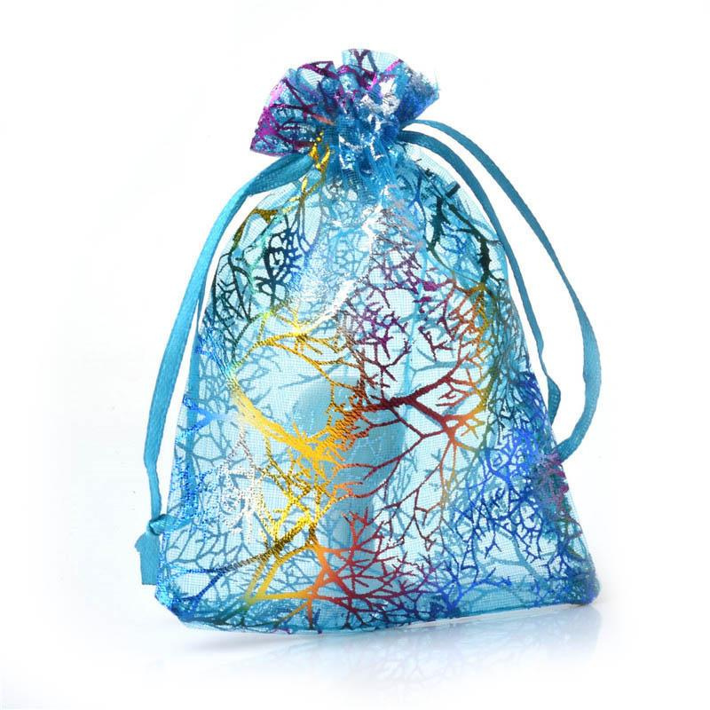 9*12cm Blue Coral Pattern Organza Bags Drawable Jewelry Pouches Kid's Cute Candy Bags Wedding Party Gift Accessories 8