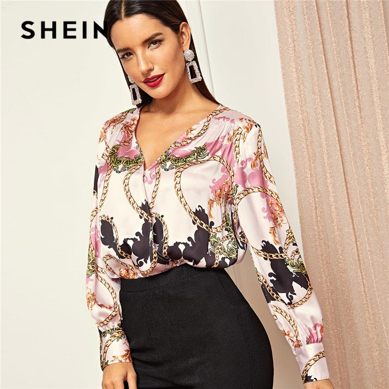 7ccfbf4234 2019 SHEIN Pink V Neck Wrap Front Chain Print Bodysuit Casual Long Sleeve  Mid Waist Elegant Women Autumn Shirt And Blouse Bodysuits Y190424 From  Gou01, ...