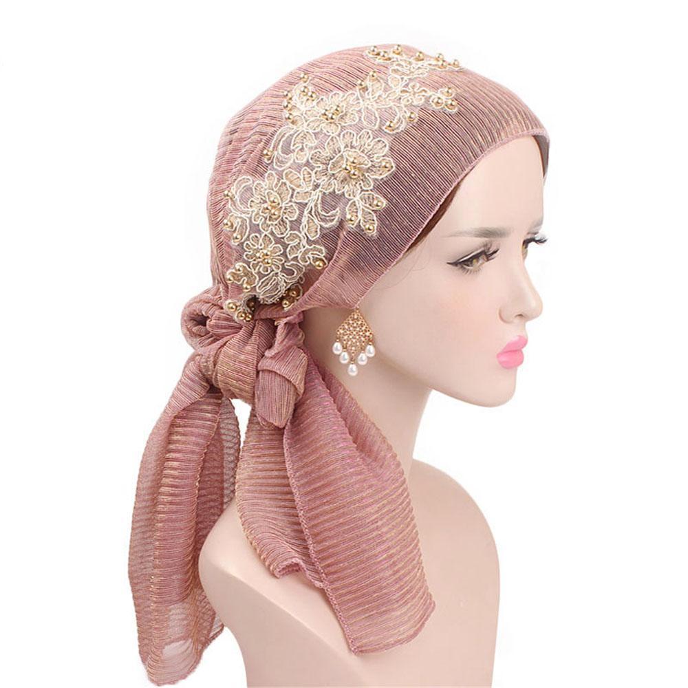 Compre 2019 Nova Moda Elegante Floral Chapéu Lenço Muçulmano Plissado  Cabeça Envoltório Elástico Turbante Floral Lenço De Seda Para As Mulheres  Presente De ... eef5ec74853