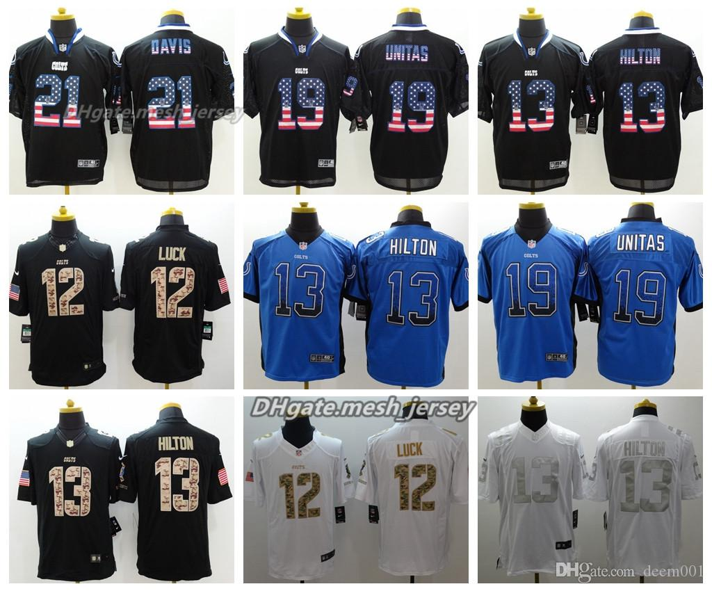 best sneakers a2cbe 2157f Men Indianapolis Jersey Colts 12 Andrew Luck 19 Unitas 13 T.Y. Hilton 21  Vontae Davis Color Rush Football Jersey