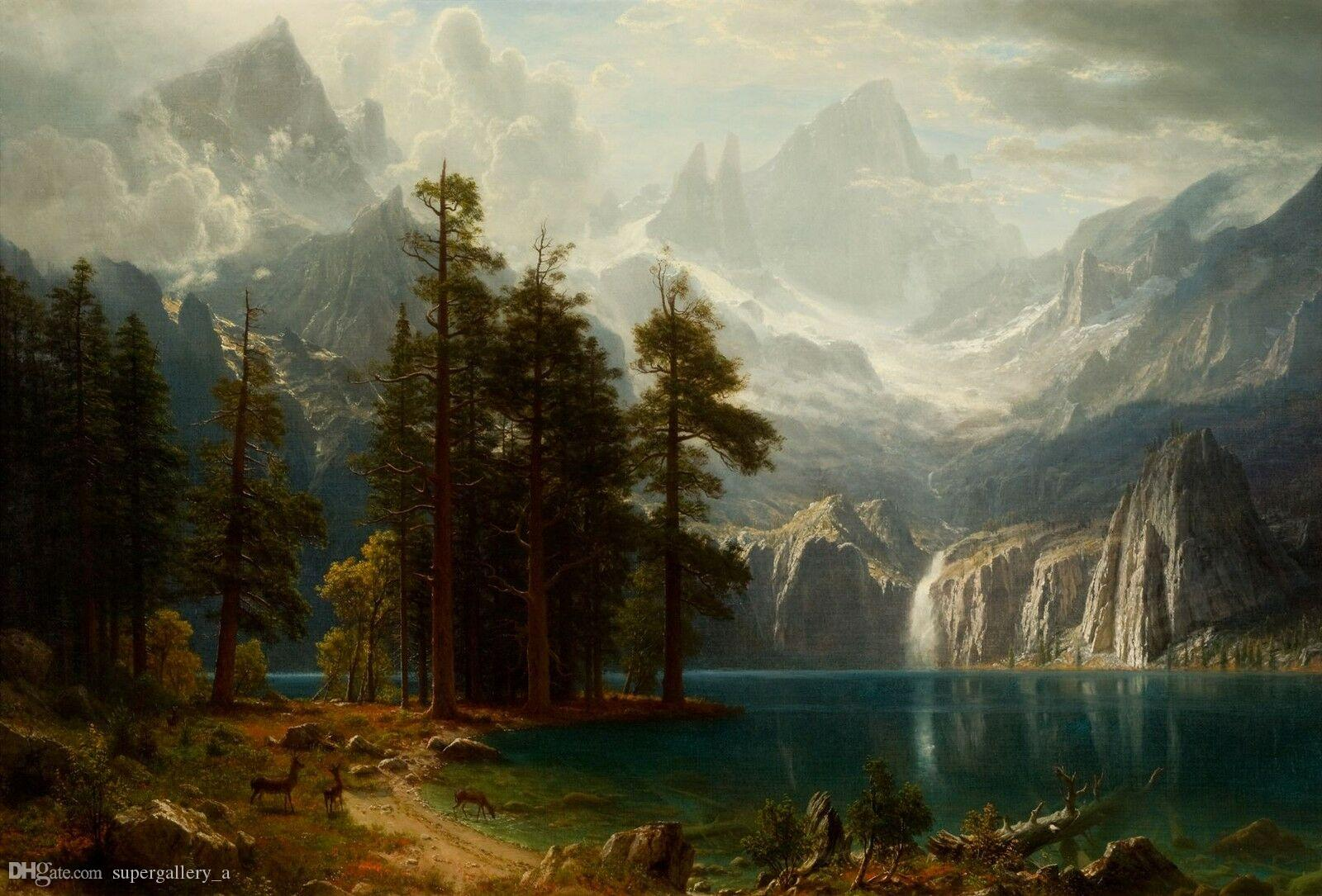 Sierra Nevada by Albert Bierstadt Home Wall Art Decor Handpainted &HD Print Oil Painting On Canvas Wall Art Canvas Pictures 190907