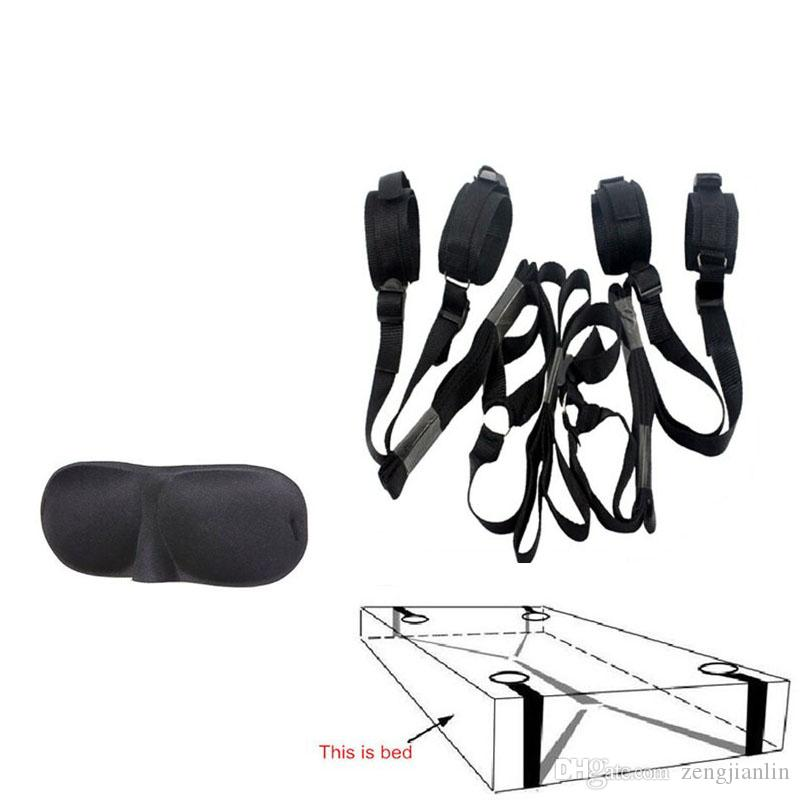 BDSM Bed Restraint System Bondage, sotto il polso Bed and Ankle Cuff Restraint Kit Tie up, Costume di Halloween, giocattoli adulti del sesso
