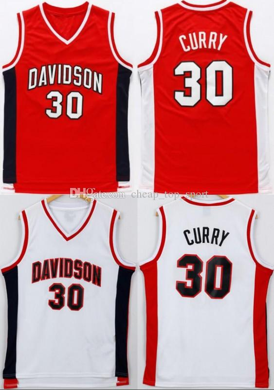 new products ea83f 4a1ad College Stephen Curry Jersey 30 Men Basketball Davidson Wildcats Jerseys  Sport Uniform Team Red Color White Away University Breathable Sale