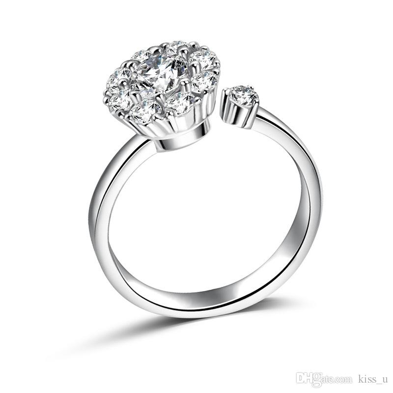 Simple Romantic Wedding Rings Jewelry Crystal Rhinestone Ring for Women Men 925 Sterling Silver Rings Accessories