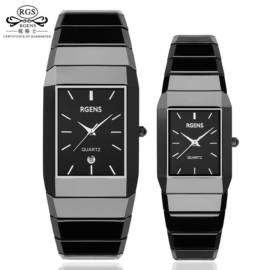 Luxury Ceramic Square Watches For Women Mens Couple Clocks Black Men's Women's Quartz Wristwatches Waterproof Ladies Man Relojes Y19070603