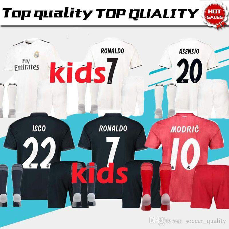 a67361465 Good Quality 18 19 Real Madrid Champions League Soccer Jersey Kids Kit 2019  Home RAMOS KROOS ISCO ASENSIO MODRIC MARCELO Football Socks Real Madrid  Soccer ...