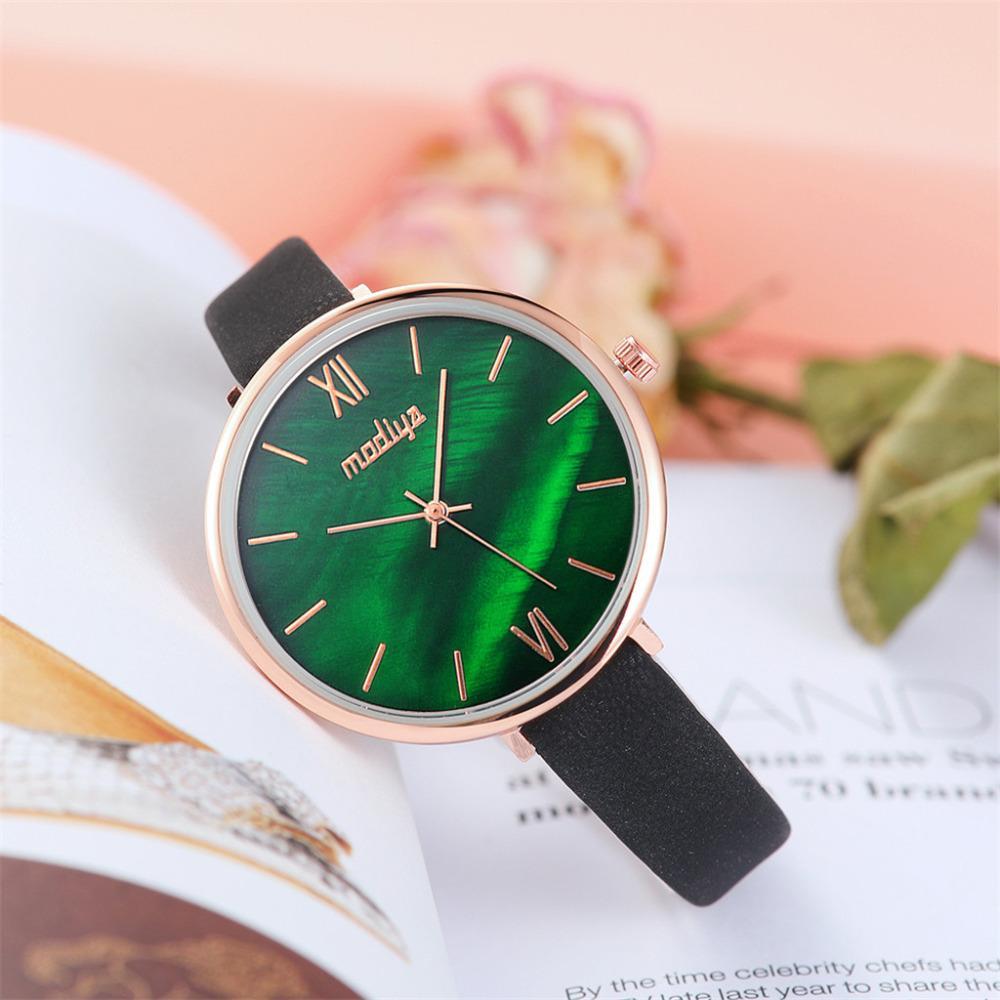 e6bb2fb2dc687 High Quality Women Watch Gradient Green Dial Beautiful Fashion Leather  Strap Watch Casual Dress Ladies Quartz WristWatch Gift #B Cheap Watch Cheap  Watches ...